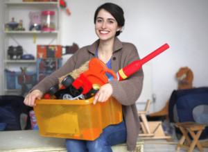 Woman in toy room